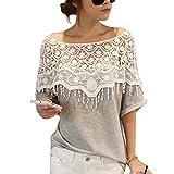 DJT T-shirt Crochet dentelle Stitching Blouse Manches chauve-souris Hauts de Chemisier Femme Gris L...