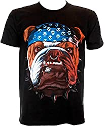 English Bull Dog Bandana Biker Rock Printed - Motorbike Rider Mens t-shirt by NARG