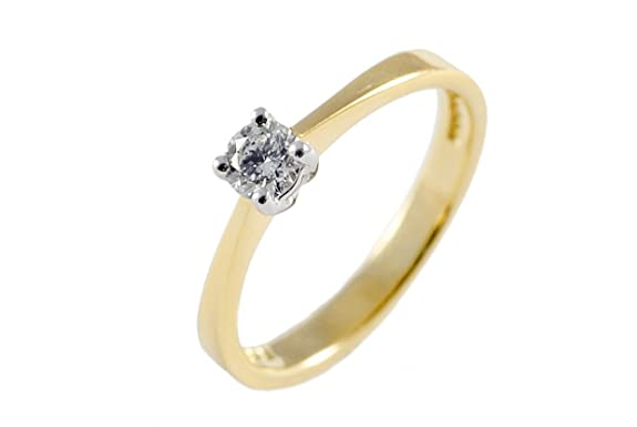 Charmbeads 9ct Yellow Gold 0.25ct Diamond Solitaire Engagement wedding anniversary Ring sizes J - O