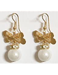 DollsofIndia White Stone Studded Bead Earrings With Metal Butterfly - Acrylic And Metal - Beige