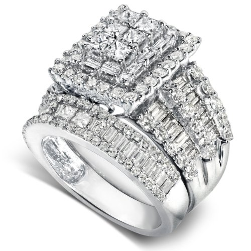 2 4/5ct TW Cluster Diamond Engagement and Wedding