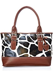 FASH Giraffe Print Faux Leather Shoulder Tote Handbag