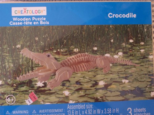 Creatology Wooden 3-D Puzzle - Crocodile by Ideology - 1