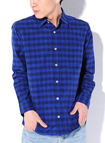 ブルーブロック M (ベストマート)BestMart コットン チェック柄 ブロードシャツ ギンガムチェック ブロックチェック ウィンドペン 美シルエット ストレッチ 綿麻 オックスフォード シャツ メンズ 7分袖 長袖 620219-005-617