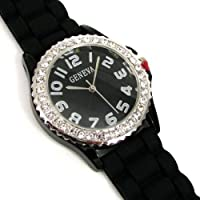 Black Silver Silicone Gel Ceramic Style Band Crystal Bezel Watch by Koda Horologe