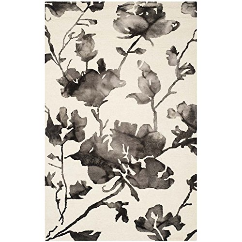 Safavieh Dip Dye Collection DDY716D Handmade Ivory and Charcoal Wool Area Rug, 9 feet by 12 feet (9' x 12')