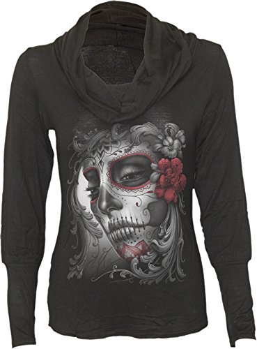 - Spirale Da Donna Skull Rose - Cowl Neck Top nero Black Small