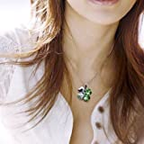 White Gold Plated Swarovski Crystal Heart Shaped Four Leaf Clover Pendant Necklace - Green