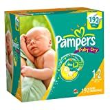Pampers Baby Dry Size 1/2 Diapers Value Pack 192 Count