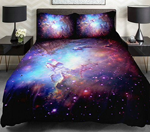 Anlye Home Decor Bedding Set 2 Sides Printing Purple Nebula Quilt Coverlet Purple Nebula Linen Sheets With 2 Decorative Pillow Covers Twin front-538525