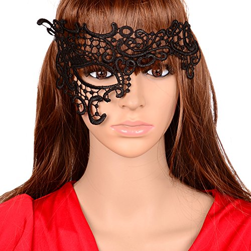 Yazilind Lolita Gothic Black Lace Half Mask One Eye for Fancy Masquerade Ball Women