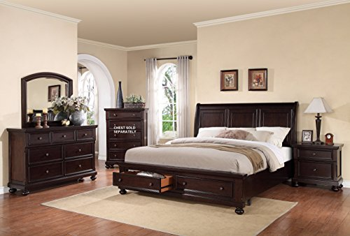 Stunning Roundhill Furniture Brishland Storage Bedroom Set Includes Dresser Mirror and Nighstands King Bed Rustic Cherry