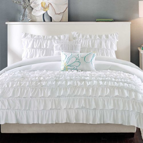 550 Tc Luxurious Egyptian Cotton Elegant Waterfall Ruffle Duvet Cover 3 Piece Set Queen White Solid front-298842