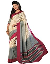 Abida Printed White Color Bhagalpuri Art Silk Saree