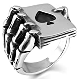 Epinki,Fashion Jewelry Men's Stainless Steel Rings Silver Black Ace of Spades Poker Card Skull Hand Gothic Size 8
