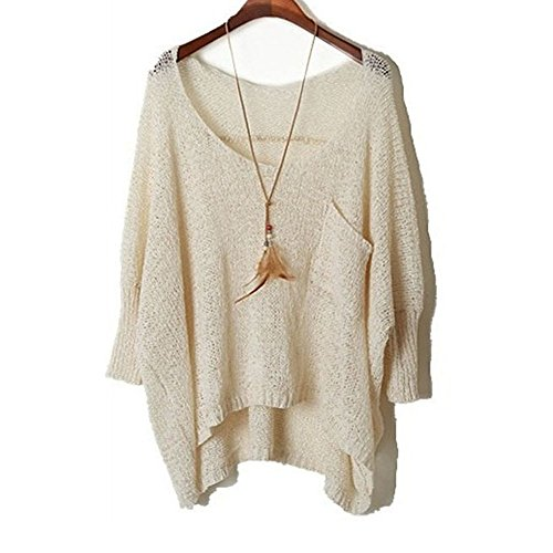 Women's Casual Oversized Baggy Knitted Sweater Loose Pullover Top Blouse Beige