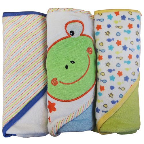 Kidiway Hooded Towels, Frog, 3 Count