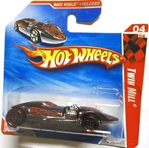 2010 Hot Wheels Black w/Red Flames TWIN MILL #210/214, Race World VOLCANO #4/4 (Short Card)