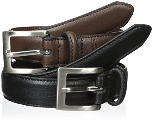 Dockers Boys' 2 For 1 Feather Edge Boys Belts, Black/Brown, Large