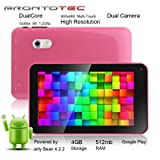 ProntoTec 7 Inch Capacitive Touch Screen Tablet Pc, Allwinner A20 Cortex A8 Dual Core 1.5 Ghz, Android 4.2, 4gb, Ddr3 512mb Ram, Dual Camera, Wi-Fi, G-sensor (Pink)