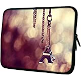"""Snoogg Cute Eiffel Tower 15"""" 15.5"""" 15.6"""" Inch Laptop Notebook Slipcase Sleeve Soft Case Carrying Case For Macbook..."""