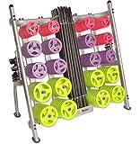 30 x Studio Pump Sets + Rack (Black Bar/Coloured Discs)