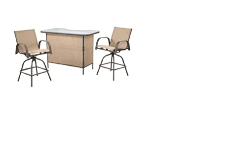 Outdoor 3 pc Bar W/ Shelf Sling Back Swivel Stools Patio Furniture Set