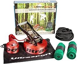 Ultrasport Kit de Slackline 15 m avec protections pour arbre et corde d'assistance
