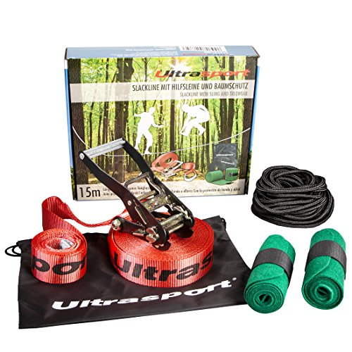 Ultrasport Slackline Set with Tree Protector and Safety Rope - 16 Yards