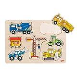 Goki 57593 Steckpuzzle Baufahrzeuge hergestellt von Gollnest & Kiesel