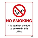 Large No Smoking in Office Sign- High quality print and materials. Fast shipping!