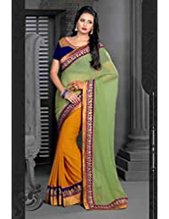 AG Lifestyle Green & Yellow Georgette Saree With Unstitched Blouse ASL604