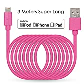 LP 【Apple MFI認証取得】ライトニングUSBケーブル iPhone 6 5 iPad Air iPad mini iPod用 3m 2.4A 急速充電(ピンク)