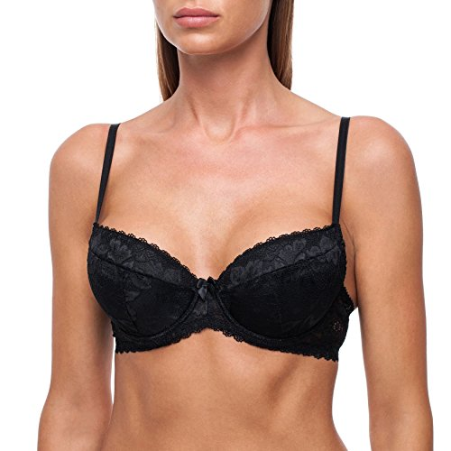 fruitVogue Women's Push-Up Underwire T-Shirt Padded Demi Lace Half Cup Bra 34 C Black (SL_578_75C)