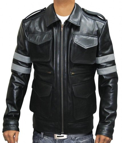Slimfit Black Leather Leon Resident faux Jacket Vegan For Men (XS)