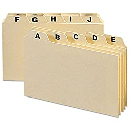 Smead Alphabetic Card Guides, 1/5-Cut Tab, 5 x 3 Inches, Heavy Manila, Legal Size, 25 Pack (55076)