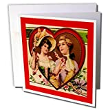 Sandy Mertens Vintage Valentine Designs - Victorian Couple in Heart - 12 Greeting Cards with envelopes (gc_8076_2)