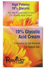 Reviva Labs 10% Glycolic Acid Renaissance Cream. Description: For Skin Accustomed to Our 5% Glycolic Acid Renaissance Cream. High Potency 10% Glycolic. For Mature Skin. Contains a unique polymer form of glycolic acid. Actual strands of glycolic that ...