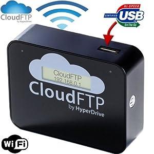 SANHO HyperDrive CloudFTP BLACK / SCHWARZ WiFi USB-Host Cloud-Adapter. Macht ALLE USB-Daten WLAN-fähig. Streamt USB-Daten direkt an WiFi-Geräte wie iPad, iPhone, Tablet, Smartphone etc. Cloud FTP