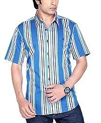 Moksh Men's Blue Striped Casual Shirt V2IMS0414-01 (Medium)