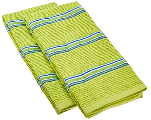 IMUSA Yarn Dye Stripe Kitchen Towels, 100% Absorbent Thick Cotton, 2-Pack, Green