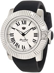 Glam Rock GR32009 Unisex Quartz Watch with White Dial Analogue Display and Black Silicone Strap GR32009