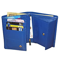 Style98 Pure Leather Blue Men Long Card Holder Wallet
