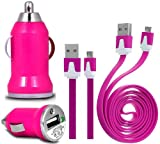 Wayzon HOT PiNK Vehical Travel iN Car Charger Adapter In Bullet Shape With Flat 2.0 Micro USB Sync Data Cable Lead Suitable For BlackBerry Curve 9220 / 9320 / 9350 / 9360 / 9370 / 9380