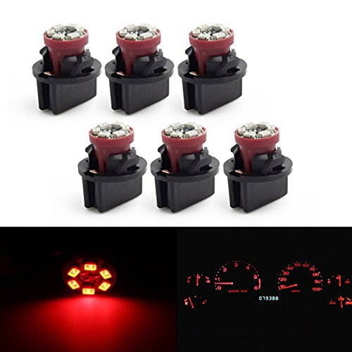 Partsam 6 Pack Pc168 Twist Lock T10 Wedge 6-Smd Led Dashboard Instrument Panel Light Red