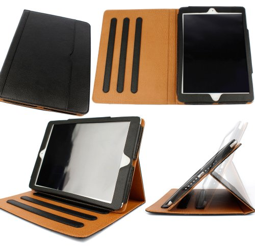 #!  DURAGADGET Executive Black/Tan Leather Flip Stand Case Custom Designed For The New iPad Air (2013 Release)
