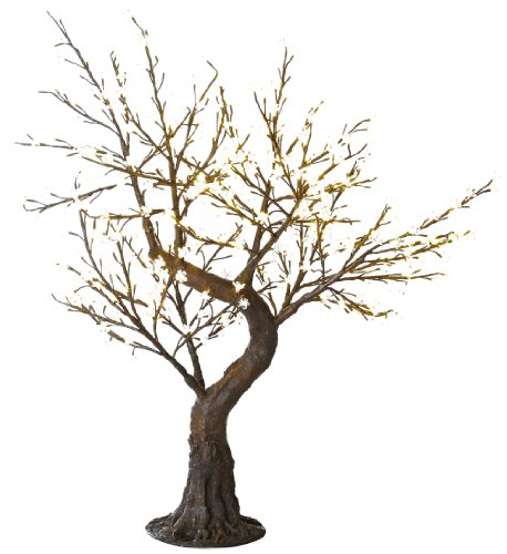 Arclite Nbl-B145 Bonsai Cherry Blossom Tree With Leaves, 5' Height, With Natural Brown Trunk, Clear Crystals And Warm White Lights