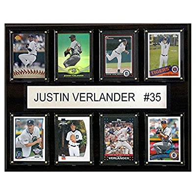 C and I Collectables MLB 15W x 12H in. Justin Verlander Detroit Tigers 8 Card Plaque