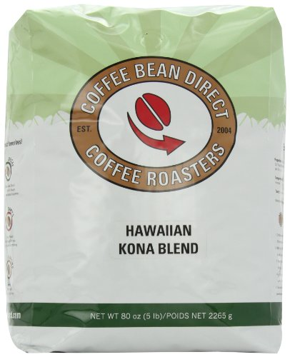 Coffee Bean Direct Hawaiian Kona Blend, Whole Bean Coffee, 5-Pound Bag