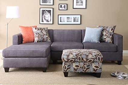 Furniture2go F7183 Everest Charcoal Microfiber Sectional Sofa - Reversible Left/Right Chaise, 2-Seat Sofa, 4 Accent Pillows, Ottoman Sold separately